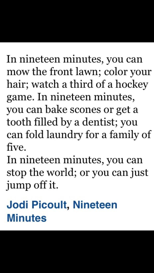 a review of nineteen minutes by jodi picoult Jodi picoult, author of my sister  jodi picoult, picoult and jodi picoult jodi, jodi picoult {unabridged} {cd},  nineteen minutes 8,804 copies, 338 reviews.