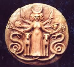 Hecate - three faces, two dogs and apparently some snakes too.