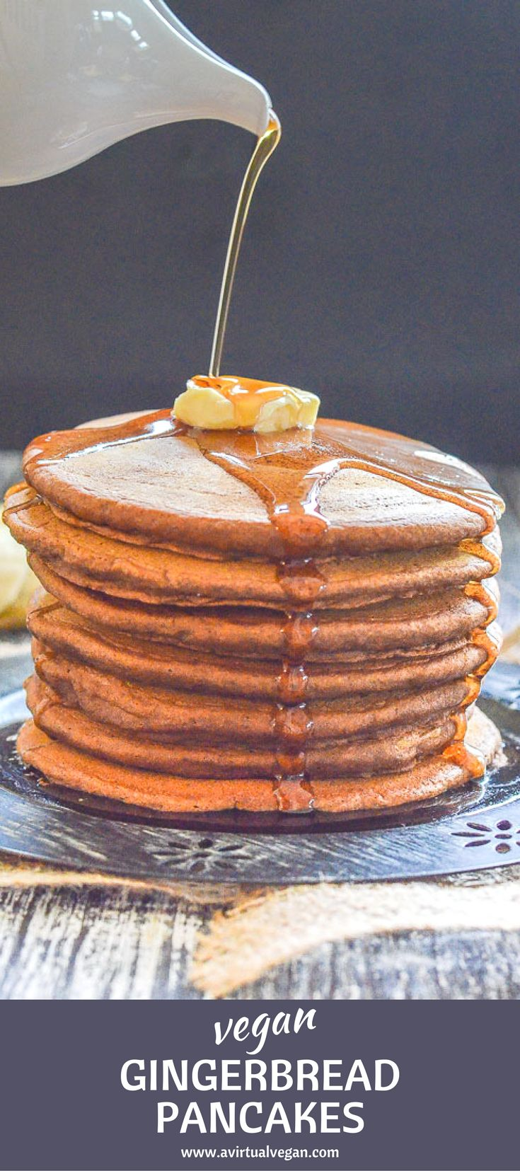 Soft, moist & fluffy Vegan Gingerbread Pancakes. Made healthier with wholegrain flour & not too sweet. Because…you know? TOPPINGS!! (copious amounts of maple syrup are recommended! ) #vegan #pancakes #veganpancakes #gingerbread