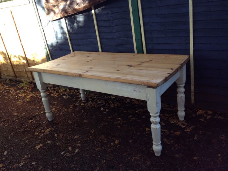 Fully sanded and legs painted in an Egyptian Cotton Dulux Satinwood This used to be my workbench. Now on eBay