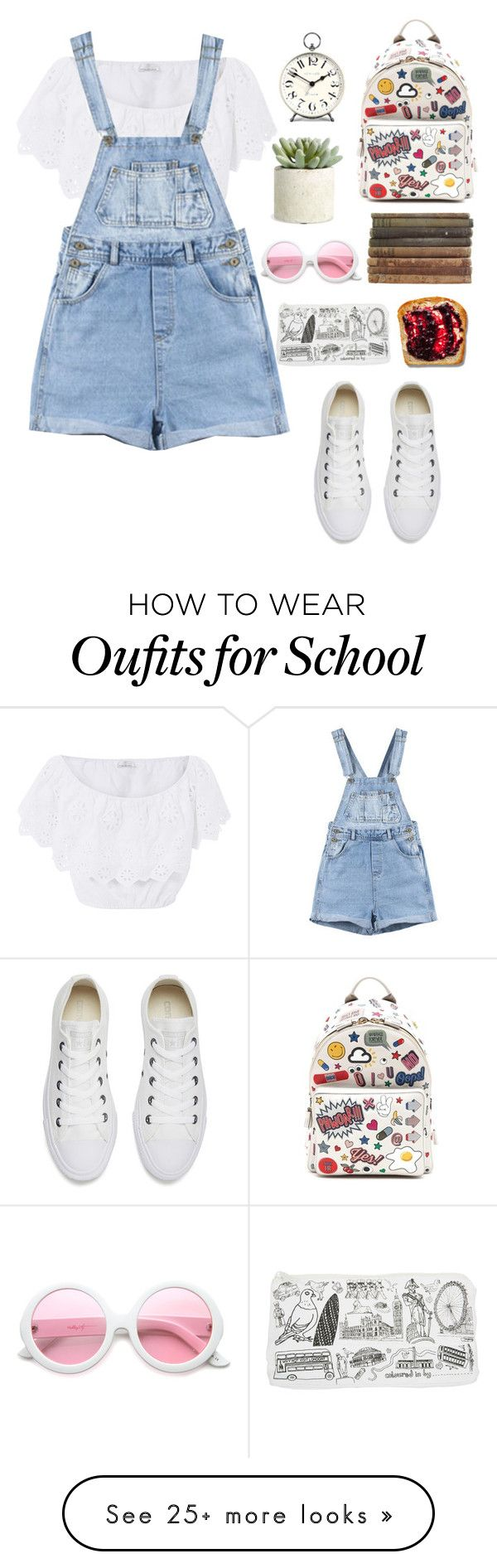 """First day of school"" by hermiona355 on Polyvore featuring Miguelina, Converse, Anya Hindmarch, ZeroUV, Newgate and Allstate Floral"
