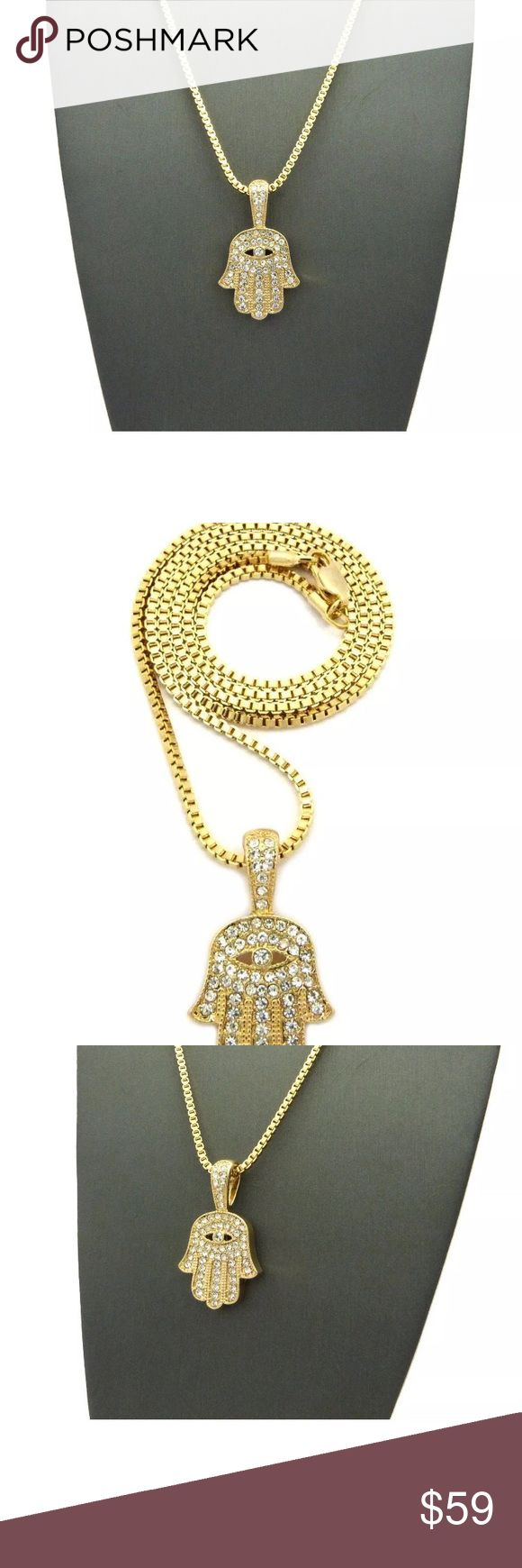 """HAMSA Micro Pave Palm Hand Pendant Gold Chain New Hip Hop Iced Pave Micro Hamsa Palm Hand Pendant w/ 24"""" Box Chain Necklace Men's Women's Unisex  Brand New   Hip Hop Celebrity Style Pendant & Chain  SIZE OF PENDANT: 0.8"""" X 1.45""""  CHAIN LENGTH:  2MM 24"""" BOX CHAIN  14K GOLD PLATED and MICRO PAVED DIAMONDS  High Quality & Polished   Retail Price : $139.99 Jewelry Necklaces"""