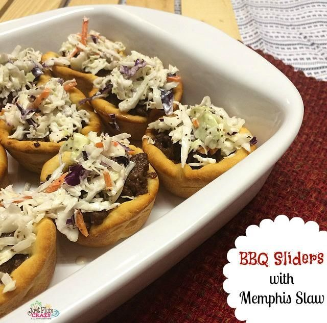 These delicious BBQ Sliders with Memphis Cole Slaw will tantalize your taste buds and delight your senses. Get the recipe here. #12DaysofBBQIDeas #BBQ