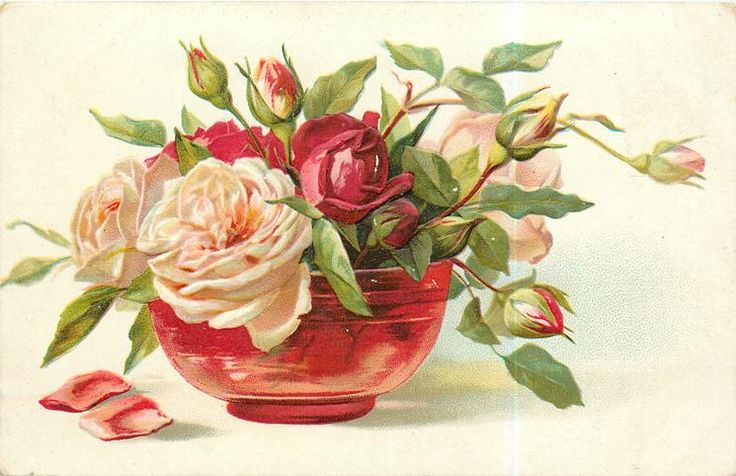 roses, red glass with red & peach blooms & many buds, two petals on table