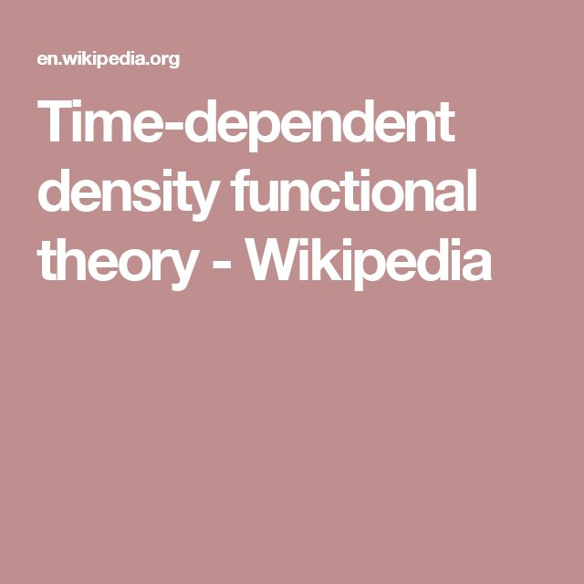 Time-dependent density functional theory - Wikipedia