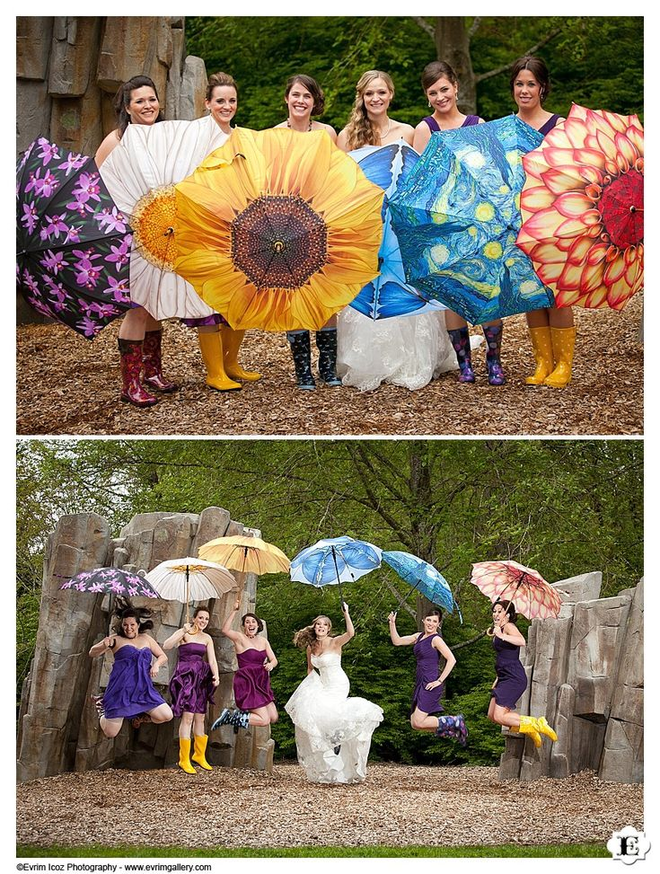 It may rain... Colorful umbrellas and rain boots add a fun spin to this bride and her bridesmaids attire during formal group shots at this wedding at The Foundry at Lake Oswego Pointe
