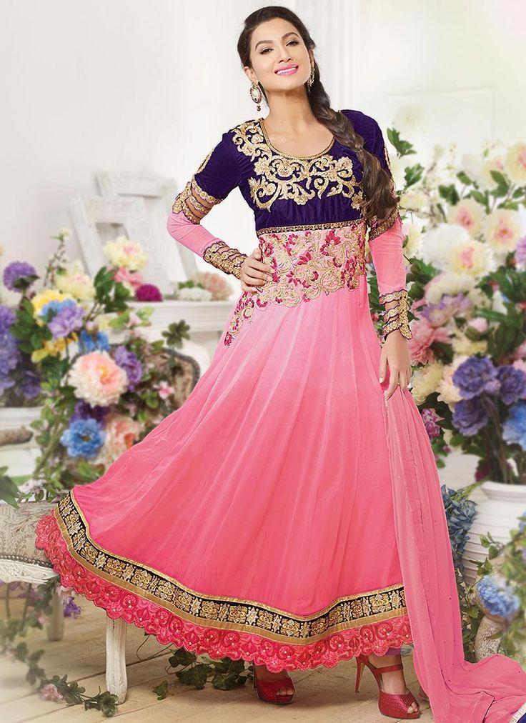 Beguiling Gauhar Khan Pink Ankle Length Anarkali