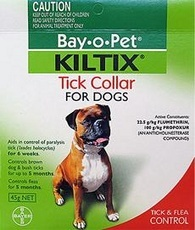 DOG ONLY treatment. Not to be used in conjunction with any other Organophosphate chemicals. Aids in control of paralysis ticks and up to 5 months for fleas, bush ticks and brown dog ticks. This is an Australian registered product, labelled in kilograms and with Australian labelling information. http://www.canadavetcare.com/bay-o-pet-kiltix-collar-for-dogs/flea-and-tick-control-treatment-72.aspx