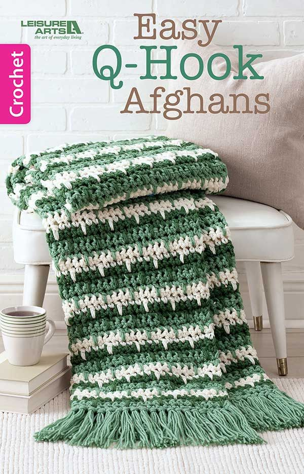 If you're looking for quick comfort, you'll want to get wrapped up in this little book! It's filled with six afghans that you can finish in a flash by using a Q hook and two strands of worsted weight