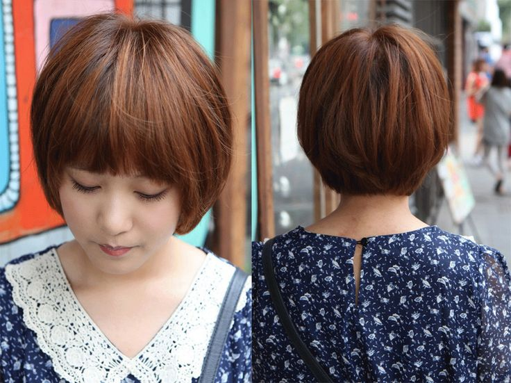This sweet short brown bob hairstyle is completely on-trend with its '60's inspired long fringe over the eyebrows! This cute bob haircut is great for thick hair! If you don't like the blunt bangs, also you can try side bangs instead.