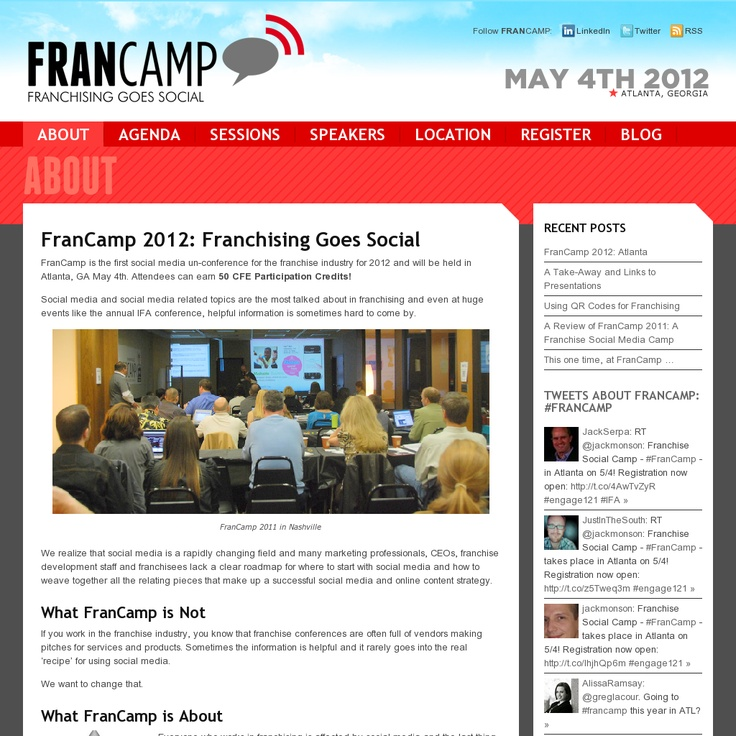 Website 'http://fransocialcamp.com' snapped on Snapito!Geek Radios, Social Geek