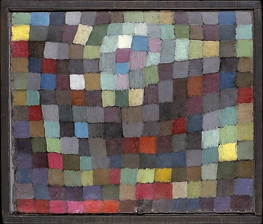 May Picture by Paul Klee:  one of Paul Klee's Magic Square series of oil paintings and watercolors that derive from the 1914 Tunisian watercolors in which he fractured the landscape into squares. They are also related to Klee's preoccupation with the laws of color, prompted by his teaching at the Bauhaus.