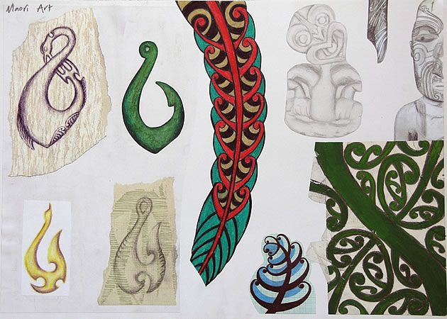 A visual investigation into Maori art, with emphasis on fishing hooks: an excellent example of an International GCSE Art sketchbook page.