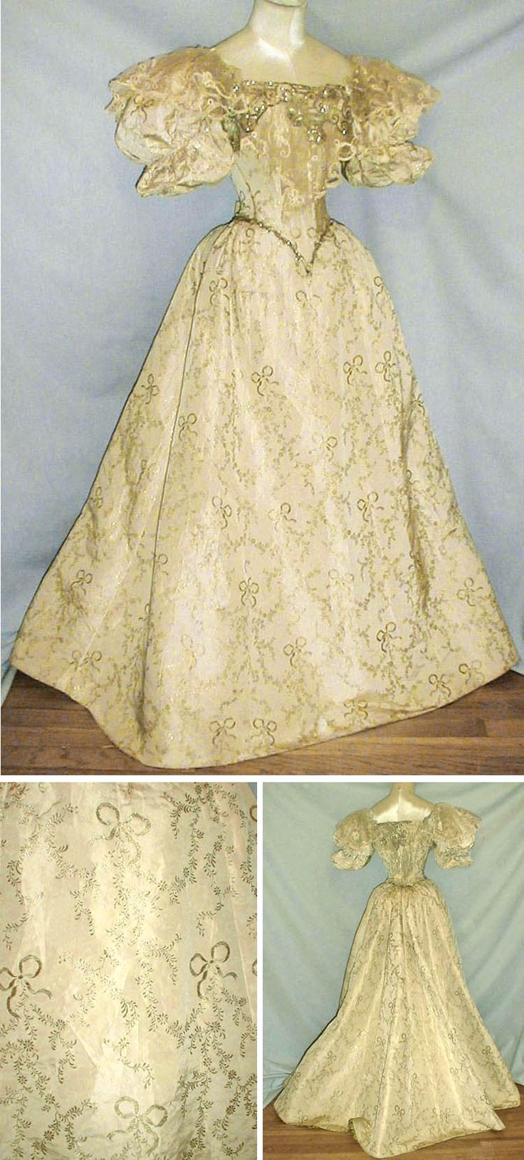Evening gown ca. 1890s, de-accessioned from the Metropolitan Museum of Art. Ivory and gold metallic silk brocade has gold metallic ribbon bows vine pattern. Bodice has short puffed sleeves trimmed with silver and mother of pearl beading. Also trimmed with lace that extends over top of sleeve and net lace covered with beading. Back lacing closure. Bodice and skirt lined with green silk. fiddybee/ebay