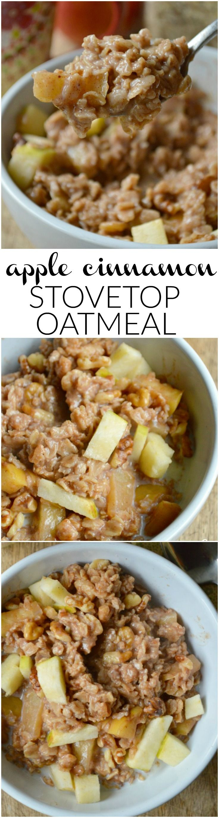 I've had this Apple Cinnamon Stovetop Oatmeal Recipe! Used gluten-free oats. So good! (Apple Recipes Easy)