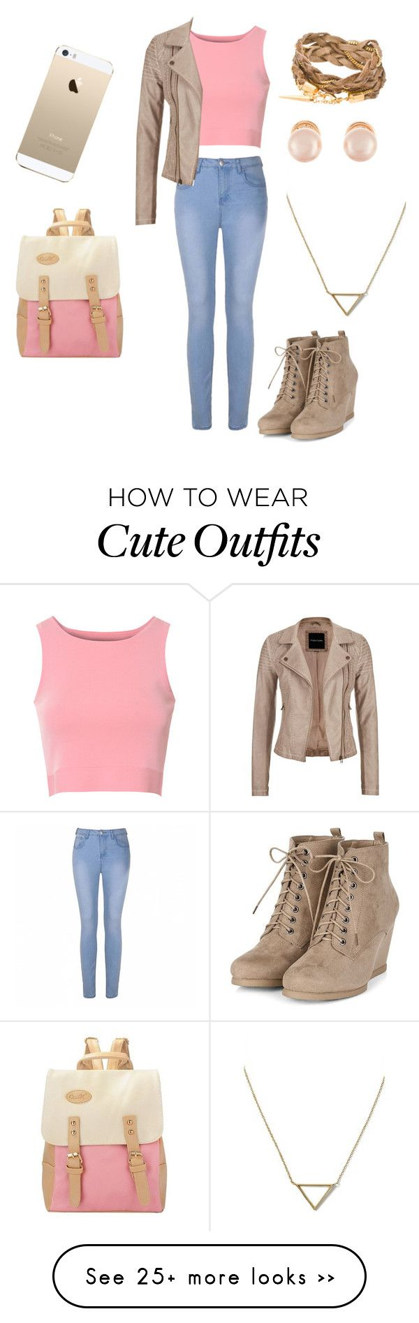 """cute outfit for fall with a hint of pink"" by baileymarie1433 on Polyvore featuring Glamorous, Ally Fashion, maurices, Kenneth Jay Lane, FingerPrint Jewellry and Banana Republic"