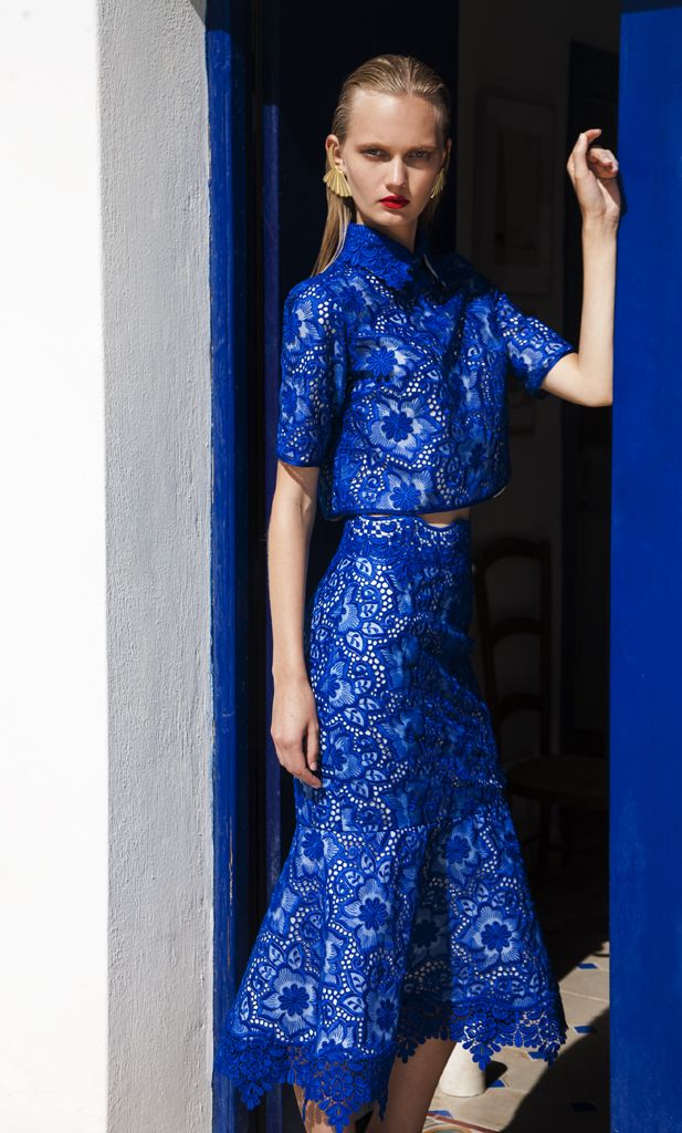 SS 1734 Brocade Organza Top, Royal Blue SS 1733 Brocade Organza Fluted Skirt, Royal Blue