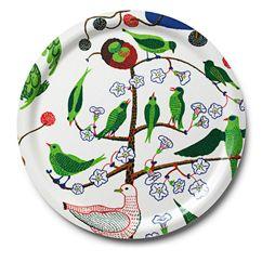 Bricka Rund Gröna Fåglar
