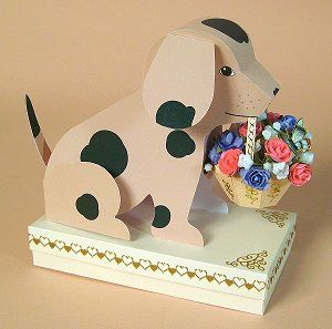 """CARD MAKING TEMPLATES FOR """"BARNEY"""" (DOG WITH BASKET) & BOX"""