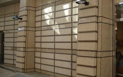 #Granite Paving used as wall cladding. Different thicknesses have been used to create a textured look on the wall