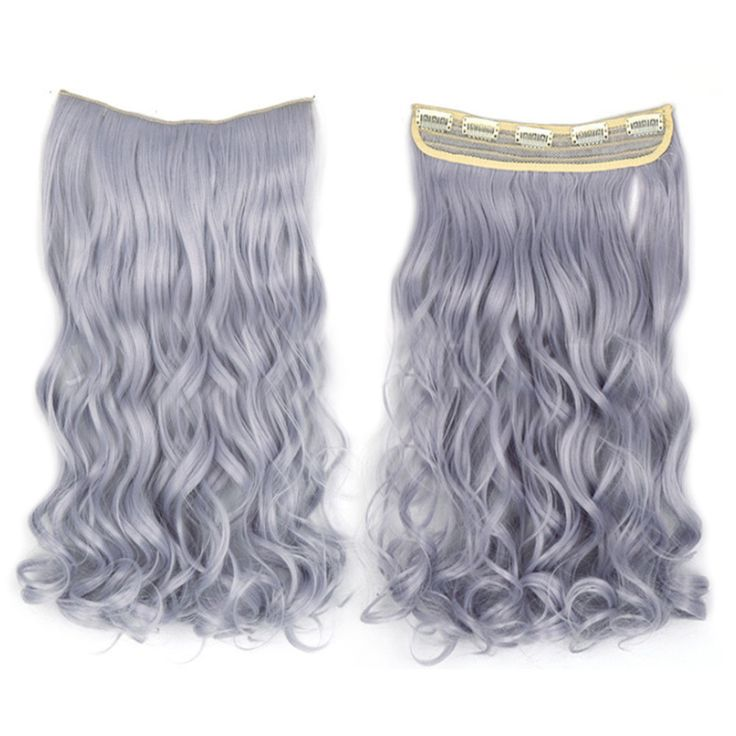 Long Curled Hair Extension 5 Cards Wig light granny grey