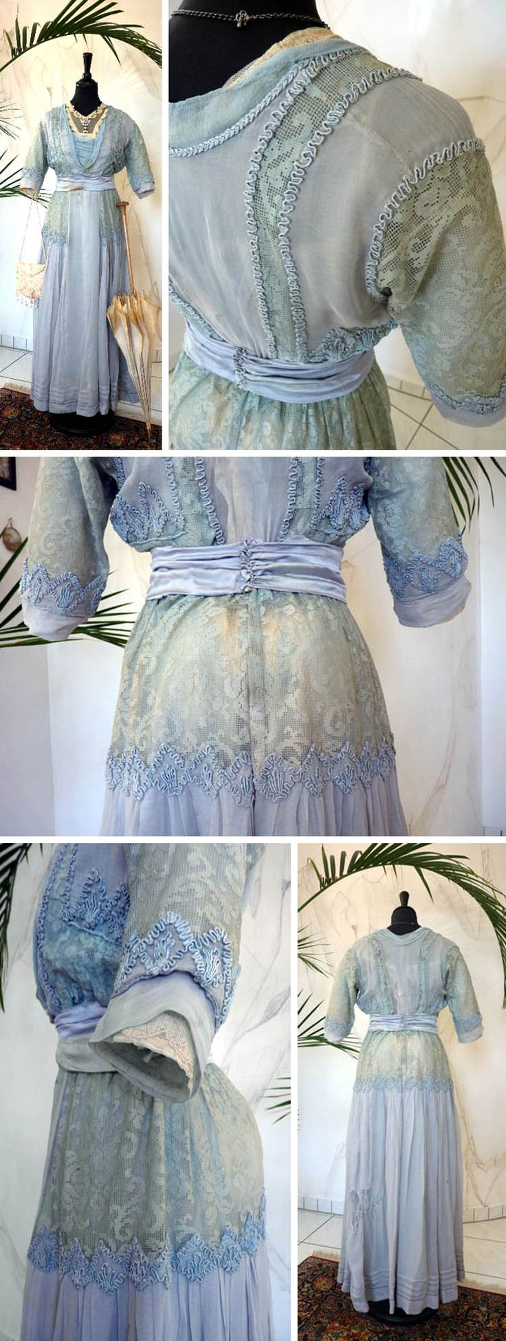 Afternoon dress, GE Spitzer, Vienna, ca. 1900-1914. Light blue, one piece, silk, lace, chiffon, tulle, and net with appliqués. Cream silk and blue chiffon underskirt. Closes in back with snaps and hooks. Antique-Gown