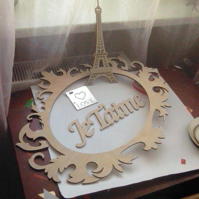 Декор во французском стиле для свадьбы. Заготовки для росписи #рамадеревянная #рамаажурная #эйфелевабашня #башняэйфеля #париж #франция #люблю #love #paris #jetaime #france #paris #eiffeltower #woodwords #словаиздерева #деревянноеслово