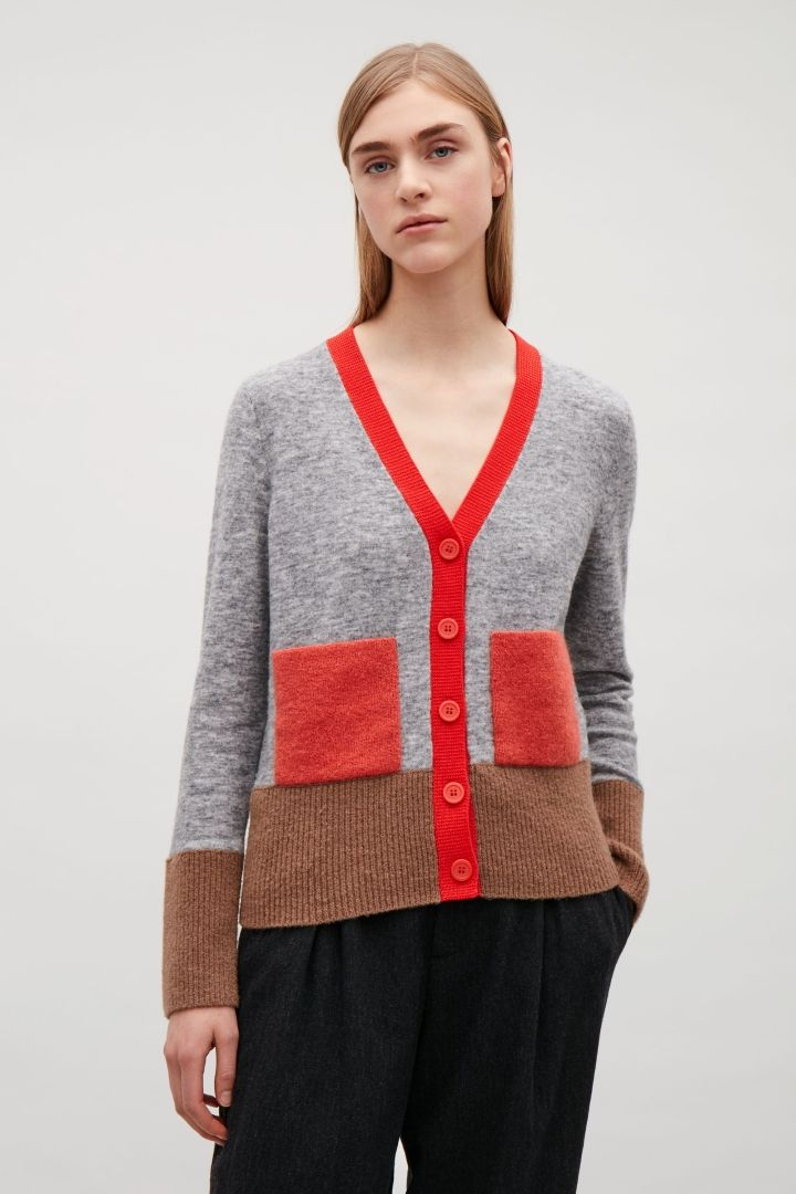 COS image 4 of Colour block cardigan with mohair pockets in