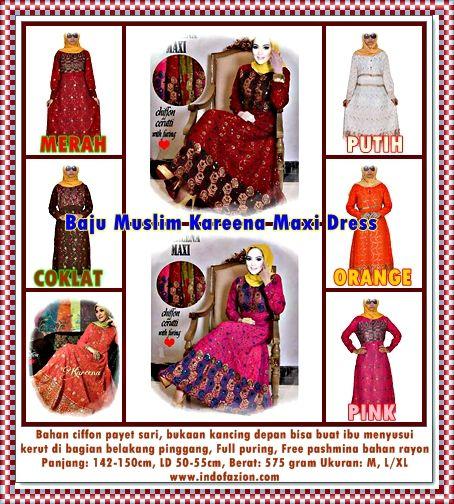 Kareena Maxi Dress Sari Muslim  Kode Barang: TA3GU0831 Harga Normal: Rp 240.000,- (PROMO: Beli 1-2Baju Disc.10%, Beli 3Baju/Lebih Disc.15%, and Untuk Reseller Disc. 20%)  PROMO BERLAKU: Tanggal 15 - 20 Desember 2014  Warna yang Tersedia: MERAH, PUTIH, ORANGE, PINK & COKLAT  HARGA PROMO/HARGA YANG BERLAKU: Discount 10%= @Rp. 216.500,- (Beli 1-2 Baju) Discount 15-20%= @Rp. 204.000,- (Beli 3 Baju atau Lebih) FREE/Gratis OngKir Se-JABODETABEK   http://www.indofazion.com/