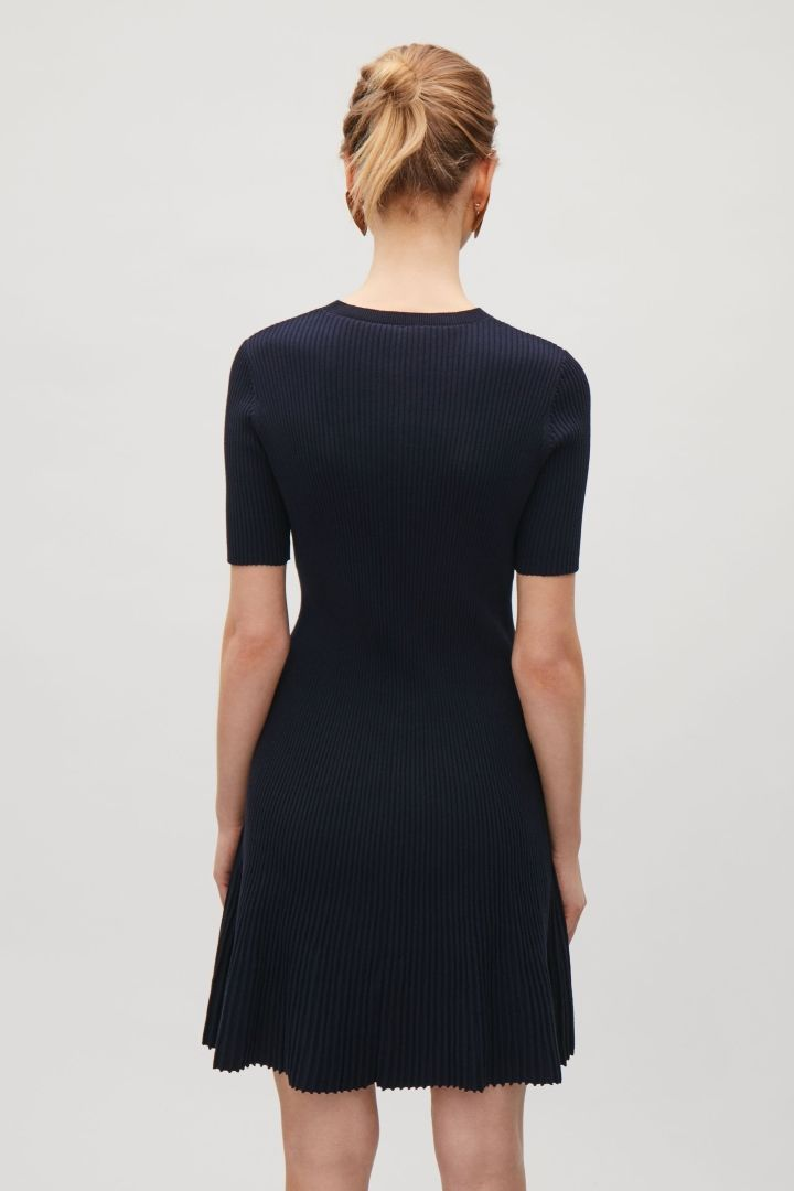 COS image 3 of Flared rib dress in Navy