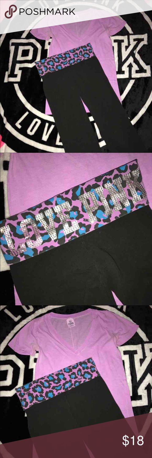 PINK VS Shirt/Purple Cheetah Print Pants Bundle Shirt is size Small, no rips, no stains, just color fade....Yoga pants are size XSmall, Cropped, Waistband is accented with Cheetah Print and rhinestones on back (some are missing, see photos please), no rips, no stains PINK Victoria's Secret Tops Tees - Short Sleeve
