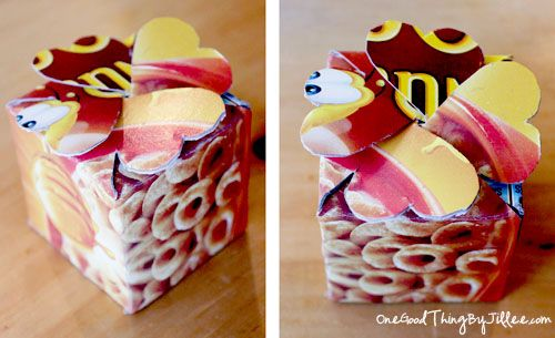 Simple and creative ideas for recycling cereal boxes. Cute Gift Box.