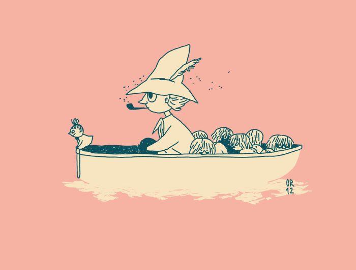 Tove Jansson, Moomin illustration. Snufkin and Little My. :)