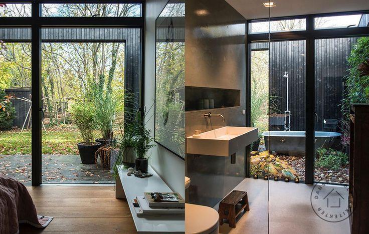 udebad lysindfald, uderum, minimalisme, minimalistisk indretning, betongulv, betonmur, støbt betongulv enkelthed Baks arkitekter, arkitekttegnet sommerhus, ude og inde udebad