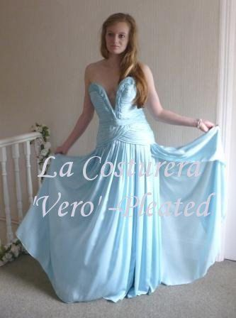 Vero Custom Silk Alternative Handmade Bridal by LaCostureraShop, $3950.00  Sumptuous pleating, amzing structured bodice and a silk satin chiffon fabric that flows and flows!  Even though I made this fabulous gown.....I still adore it and hope that my client in Switzerland enjoys wearing it!