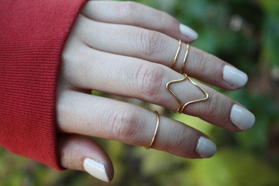 Gold Knuckle Ring Set of 5 Gold Midi Rings Stacking Rings