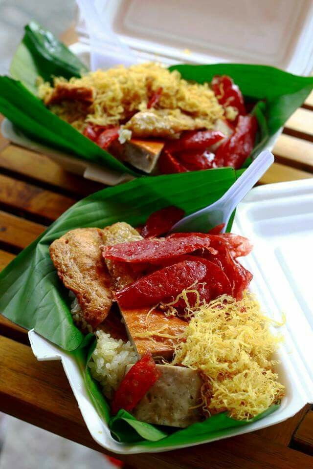Xôi Mặn, Sticky Rice With Pork Floss U0026 Pork Sausages #rice #stickyrice #