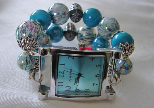 Easter Aqua and white chunky beaded watch band and by BeadsnTime, $30.00
