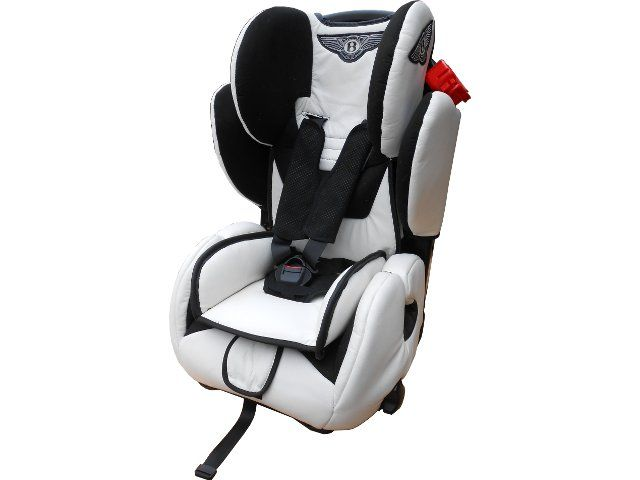 cute baby car seat retrimmed in white leather and branded. Black Bedroom Furniture Sets. Home Design Ideas