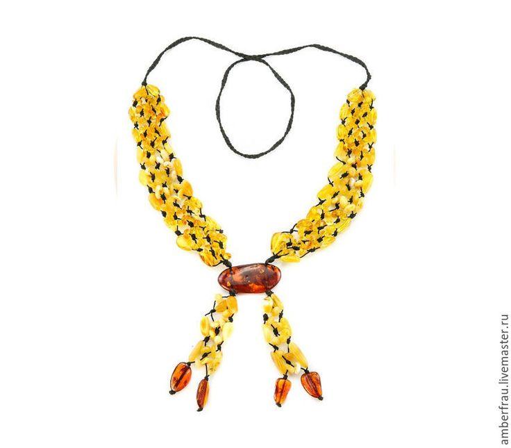 Купить Галстук из янтаря плетеная дорожка (арт. 030) - желтый, янтарь, янтарь купить