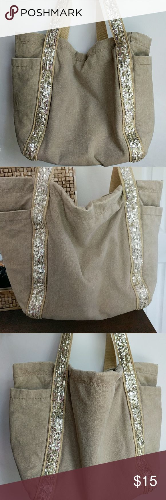 Gap Tote Khaki/light brown tote with gold sequin straps. Two large outside pockets on the sides and two small inside pockets. Gently used. GAP Bags Totes