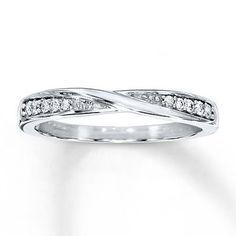 Beautiful Diamond Wedding Band Round-cut 10K White Gold