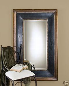 Tuscan large beveled floor mirror antiqued black w for Large gold floor mirror