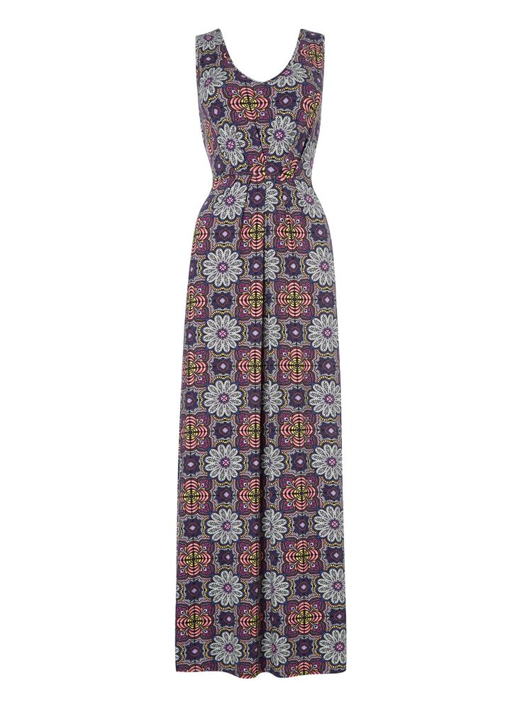 Liven your holiday wardrobe with this multicoloured maxi dress, designed with an exotic floral pattern and a stretch waistband with a gathered front. Wear with wedge sandals for a stylish silhouette. Multicoloured sleeveless maxi dress Floral pattern V-neckline Elasticated waistband Gathered front Model's height is 5'11