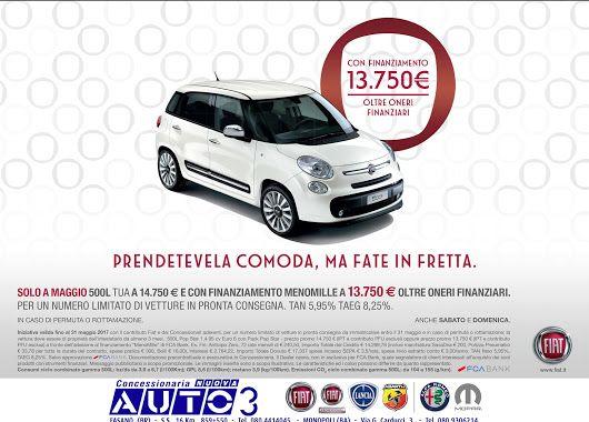 Solo a #Maggio, #500L tua a 13.750 € con #finanziamento menomille, per un numero limitato di #vetture.  www.nuovaauto3.it