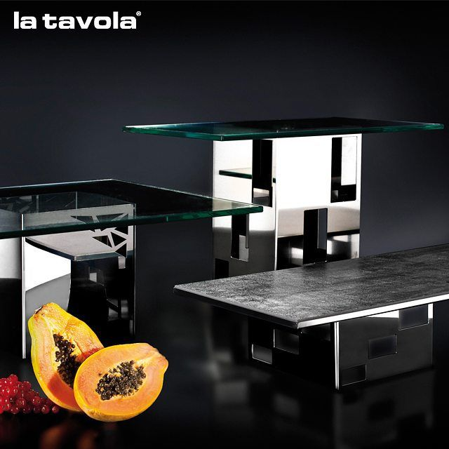 'Cuts' buffet Risers with hardened transparent glass tops  Discover more at…