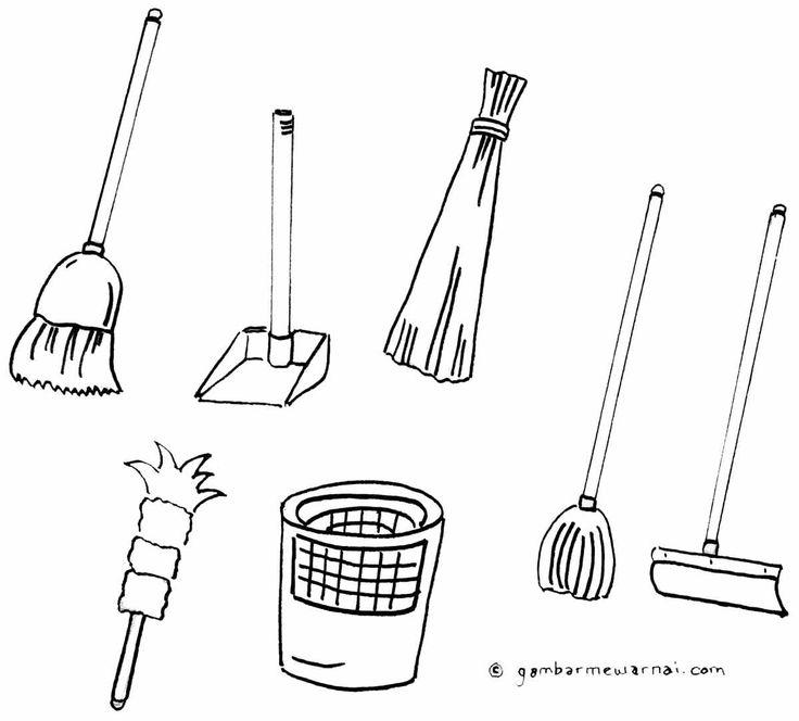 Mewarnai Gambar Alat Kebersihan