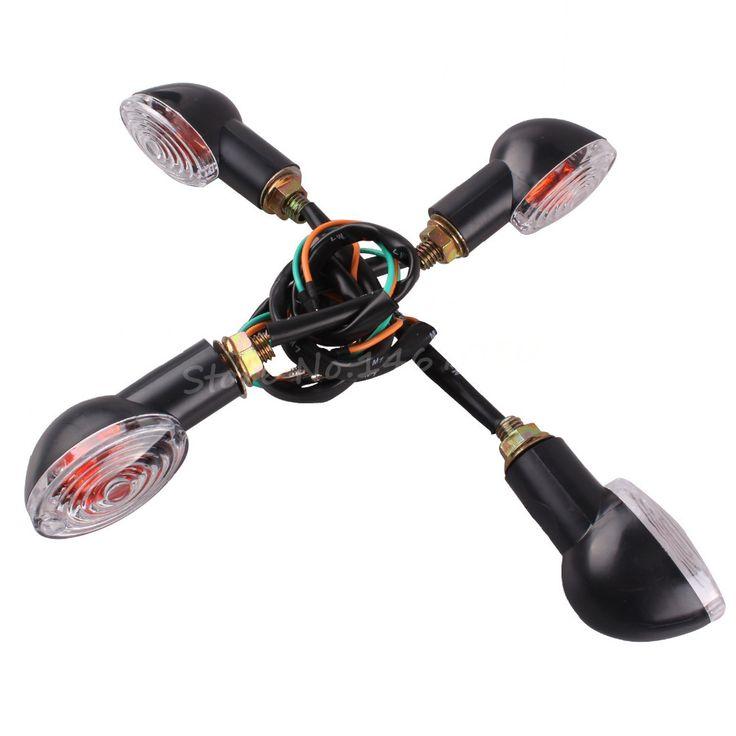 Empat potong Chrome / amber, Indikator sinyal giliran sepeda motor cahaya bohlam, Cat Eye 10 W baru