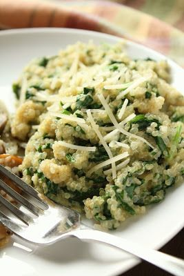 parmesan spinach quinoa with pine nuts - love pine nuts!