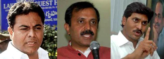 Pic: From left, KT Rama Rao, Madhu Yakshi Goud, Jagan Mohan Reddy